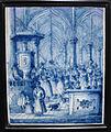 Delf, mattonella con interno di chiesa, 1670 ca..JPG