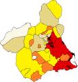 Densidad de población por municipios, Región de Murcia.png