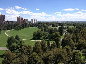 Cheesman Park, Denver - Looking across the main lawn from the northwest corner.