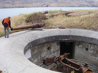 Ripapa Island - Derelict Armstrong guns and emplacements.