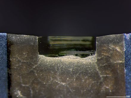 A diamond knife blade used for cutting ultrathin sections (typically 70 to 350 nm) for transmission electron microscopy. Diamond Knife Blade Edge.jpg