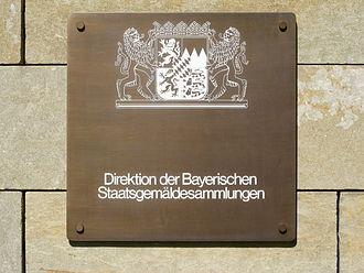 Bavarian State Painting Collections - Direktion der Bayerischen Staatsgemäldesammlungen (Bavarian State Painting Collections) administration plaque