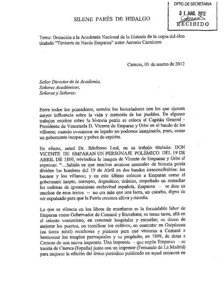 File:Discurso Academia Nacional de la Historia de Venezuela - Donación del retrato del teniente de navío Emparan - Obra del pintor Antonio Carnicero.pdf