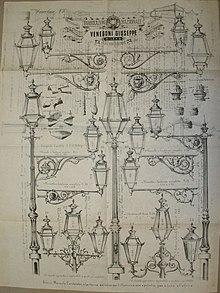 Pieghevole con articoli per l'illuminazione pubblica a petrolio, a gas e a luce elettrica, Milano 1883
