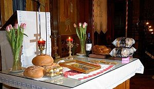 Altar cloth - Altar topped with white altar cloth as in the Latin Church and this Byzantine Rite tradition
