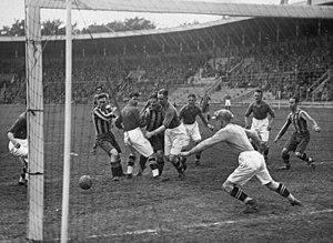 Djurgårdens IF Fotboll - Djurgården playing against IK Brage at Stockholms Stadion in 1930.