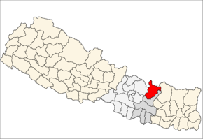 Dolkha District i Janakpur Zone (grå) i Central Development Region (grå + lysegrå)