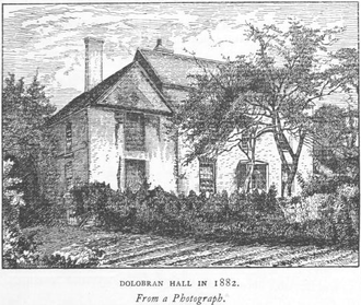 """Dolobran, Montgomeryshire - Engraving titled: """"Dolobran Hall in 1882, from a photograph"""""""