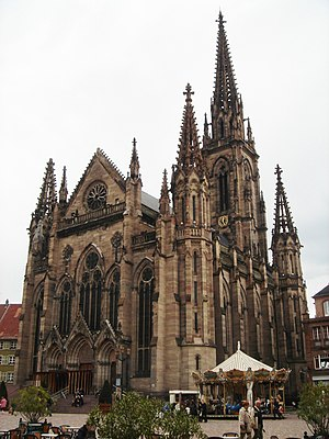 Jean-Baptiste Schacre - Temple Saint-Étienne, the Calvinist temple (1859-1869) of Mulhouse, with its 97-metre spire, is one of the highest Protestant religious buildings ever built in Europe.