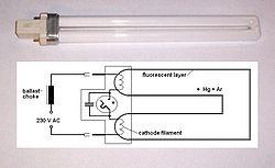 Kompaktleuchtstofflampe mit integriertem Starter; im Schaltschema ist links die zum Betrieb am Netz zusätzlich erforderliche Vorschaltdrossel (KVG) dargestellt