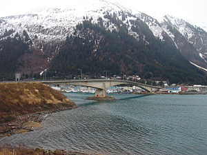Douglas Island - Douglas Bridge, the bridge crossing Gastineau Channel, connecting downtown Juneau with Douglas Island.  The original bridge was built in 1935.  The replacement (current) bridge, shown here, was completed in 1980.