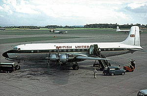 British United Airways - Douglas DC-6A G-APNO in the airline's original livery. Manchester Airport in late-August 1964