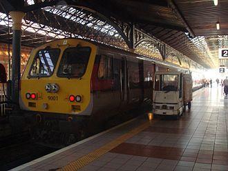 Enterprise (train service) - Enterprise Control Car 9001 stands at Dublin Connolly