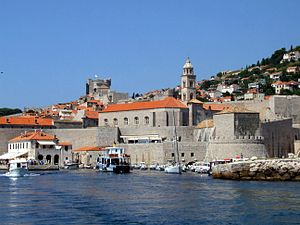 English: Dubrovnik, Croatia - harbour and city...
