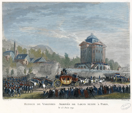 The return of the royal family to Paris on 25 June 1791: colored copperplate after a drawing of Jean-Louis Prieur Duplessi-Bertaux - Arrivee de Louis Seize a Paris.png