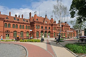 Neo-gothic railway station in Malbork