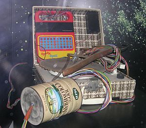 E.T. the Extra-Terrestrial - Makeshift communicator used by E.T. to phone home. Among its parts is a Speak & Spell, an umbrella lined with tinfoil, and a coffee can filled with other electronics.