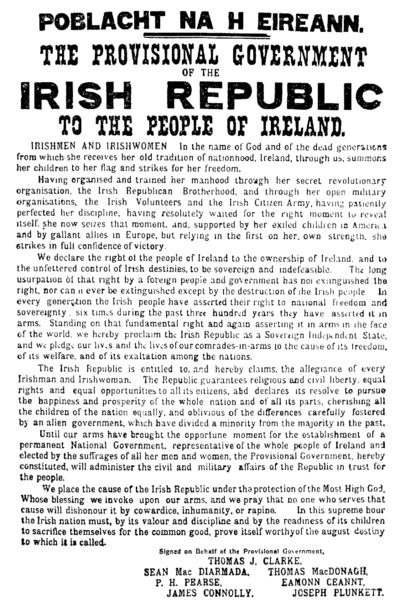 Proclamation of the Irish Republic distributed during the Easter Rising Easter Proclamation of 1916.png