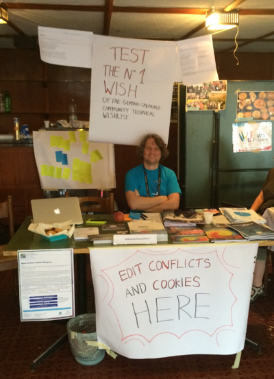 Edit conflict and cookies corner at WMDE booth at Wikimania 2016