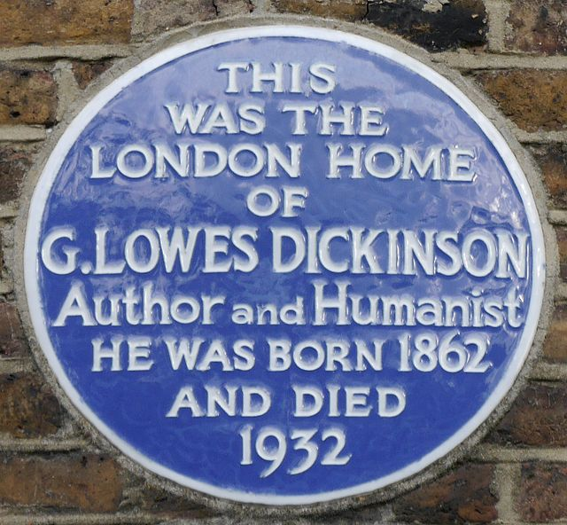 Goldsworthy Lowes Dickinson blue plaque - This was the London home of G. Lowes Dickinson, author and Humanist. He was born 1862 and died 1932.