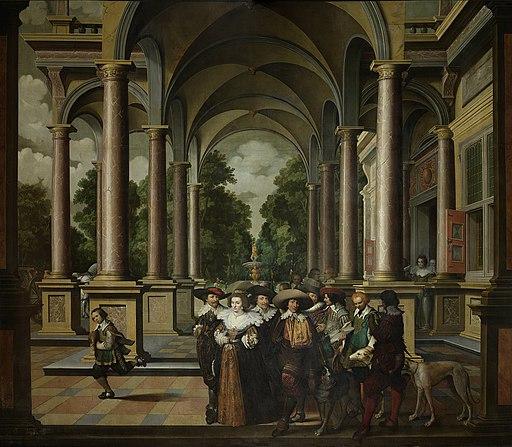 Een galerij. Onderdeel van een zevendelige kamerbeschildering. Rijksmuseum SK-A-3937