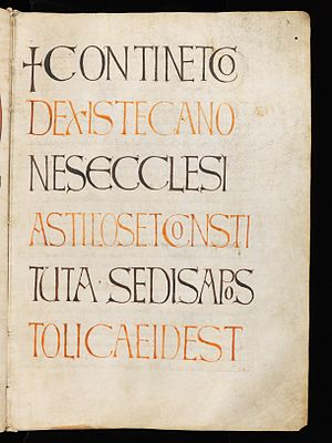 Collectio canonum Quesnelliana - Folio 3r from Einsiedeln, Stiftsbibliothek, Codex 191 (277), showing a decorative title page for the Quesnelliana