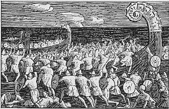 Eiríkr Hákonarson - Eric's men board the Long Serpent by Halfdan Egedius