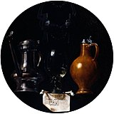 Emblematic still life with flagon, glass, jug and bridle by Torrentius.jpg