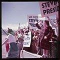 Enthusiastic, sign-carrying crowd greeting presidential candidate Adlai Stevenson at an airport in San Mateo County, California 19933 150px.jpg