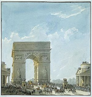 Paris under Napoleon - A wood and canvas version of the unfinished Arc de Triomphe was constructed for the entrance of Marie-Louise of Austria to Paris in 1810.