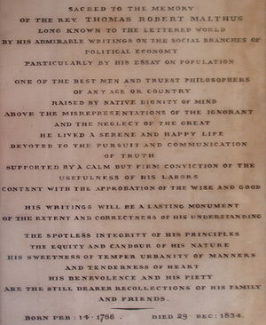 Thomas Robert Malthus - The epitaph of Rev. Thomas Robert Malthus, just inside the entrance to Bath Abbey.