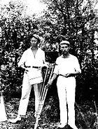 Erkki Karu, one of the pioneers of the Finnish cinema, with cinematographer Eino Kari in 1927.