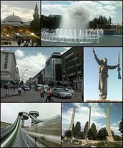 Top left: Lala Kara Mustafa Pasha Mosque, Top right: Erzurum Poolside, Middle left: Cumhuriyet avenue, Middle right: Statue of Nene Hatun, Bottom left: Kiremitliktepe Ski Jump, Bottom right: The Statue of Liberty in Erzurum