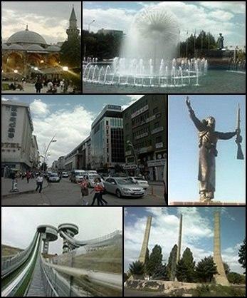 Top left: Lala Kara Mustafa Pasha Mosque, Top right: Erzurum Poolside, Middle left: Cumhuriyet avenue, Top right: Statue of Nene Hatun, Bottom left: Kiremitliktepe Ski Jump, Bottom right: The Statue of Liberty in Erzurum