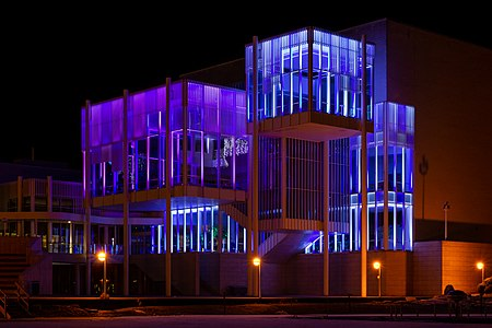 Blue / purple facade lighting of the Espoo Cultural Centre in December 2018.
