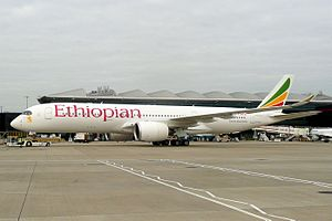 Ethiopian Airlines - An Airbus A350 at Heathrow Airport in 2016