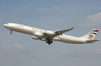 Etihad Airways - A now retired Etihad Airways Airbus A340-500 wearing the previous livery