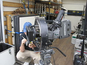 Camera stabilizer - A Panavision Genesis movie camera in a bespoke stabilizing mount.