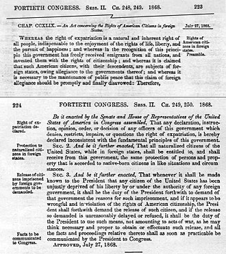 Expatriation Act of 1868 - Image: Ex Pat Act