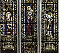 Exeter Cathedral east window detail, St Barbara, Blessed Virgin Mary and St Martin (36765402432).jpg