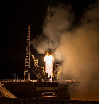 2015 in spaceflight - Image: Expedition 43 Launch (201503280007HQ)