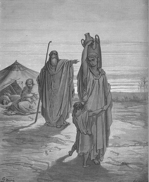 Desert of Paran - Abraham sends Hagar and Ishmael into the Desert, illustration by Gustave Doré