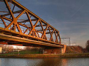 Sidney Godley - Nimy railway bridge; the memorial plaque is below