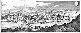 Füssen - 17th century engraving by Matthäus Merian, depicting Füssen