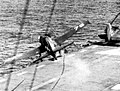 F6F Hellcat crashing over the side of USS Saipan (CVL-48), circa in 1946.jpg