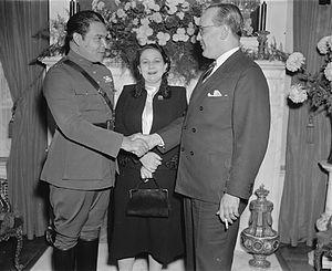 Fulgencio Batista - Batista (left) with his first wife Elisa Godinez-Gómez on a 1938 visit to Washington, D.C., greeting the Cuban ambassador, Dr. Pedro Fraga
