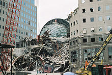 the winter garden buried in debris after the 911 attacks - Winter Garden Nyc