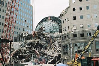 Winter Garden Atrium - The Winter Garden buried in debris after the 9/11 attacks