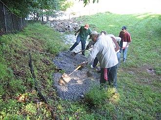 Lake Needwood - Crews shoring up the Needwood Dam
