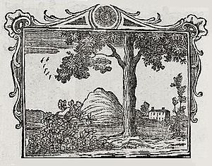 """The Gourd and the Palm-tree - The adapted fable of """"The Elm and the Vine, an illustration from Robert Dodsley's Select Fables of Esop, 1764"""